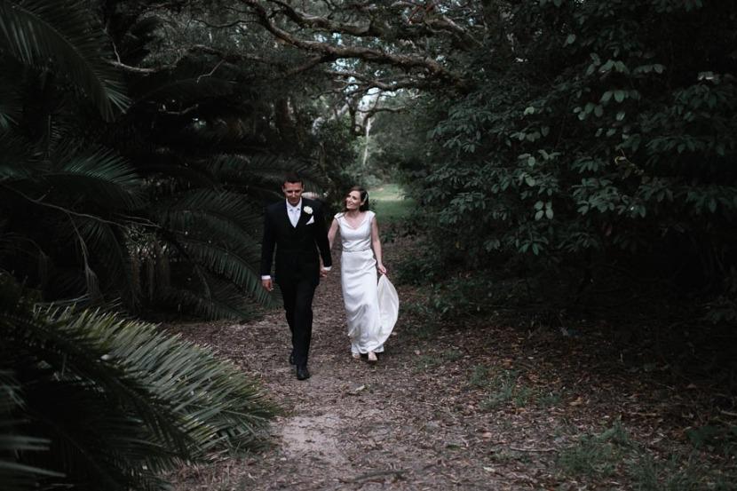 bride-groom-walking-in-trees