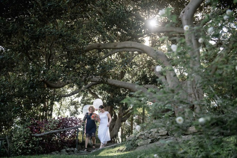 bride-arrives-under-large-tree-sydney-wedding