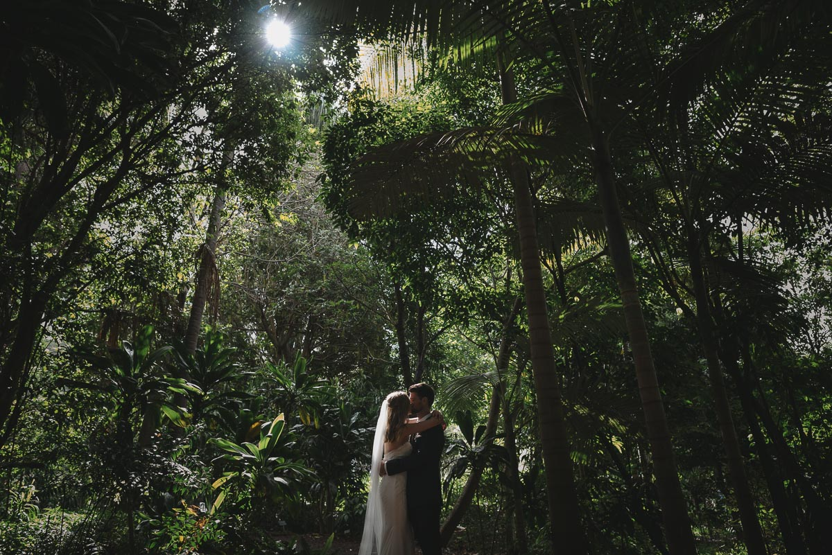 bride-groom-kissing-royal-botanic-gardens-sydney
