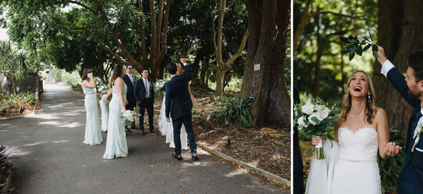 wedding-party-walking-through-botanical-gardens