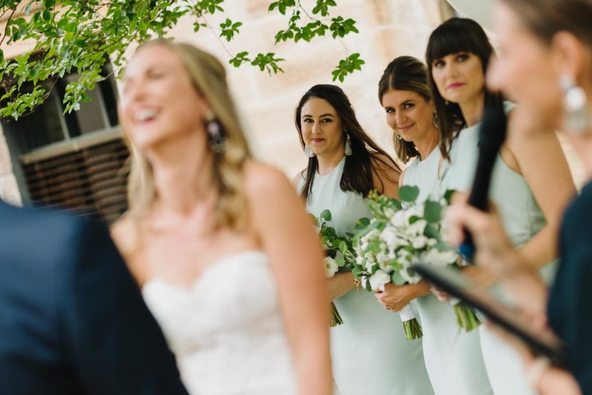 smiling-bridesmaid-sydney-wedding-ceremony