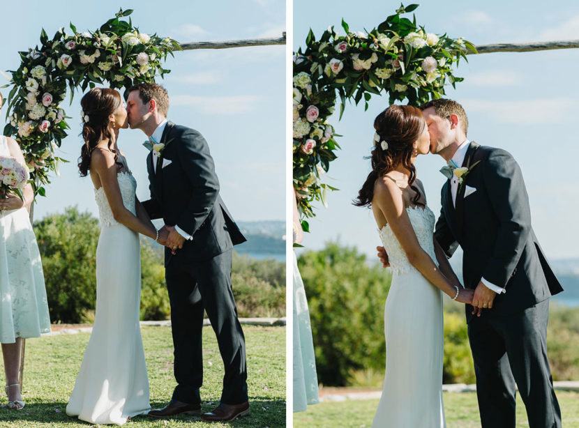 bride-groom-first-kiss-north-head-wedding